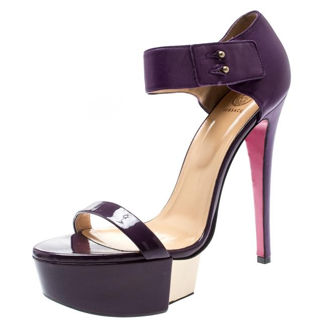 Item - Purple Patent Leather and Leather Ankle Strap Platform Size 40 Sandals