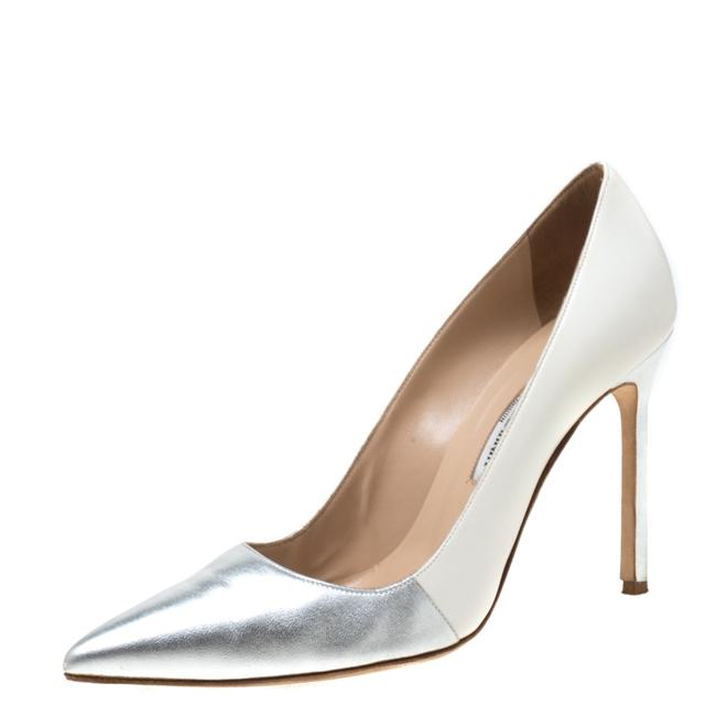 Item - Metallic Silver and White Leather Bb Pointed Size 39 Pumps