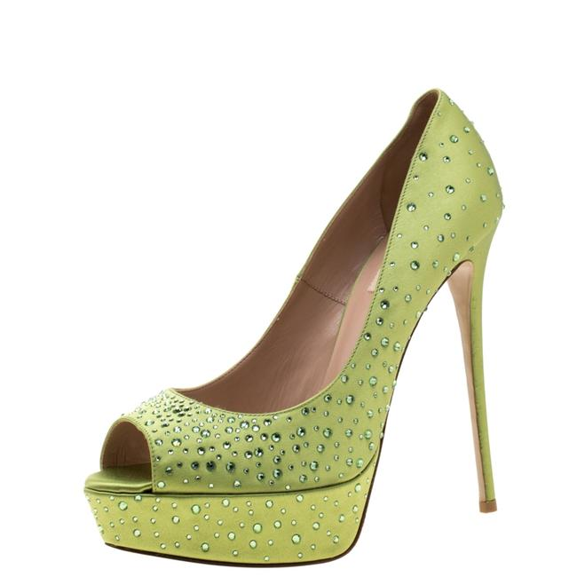 Item - Pop Apple Green Crystal Embellished Satin Peep Toe Platform Size 40 Pumps