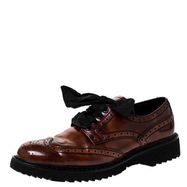 Item - Brown Brogue Leather Spazzolato Oxfords Size 37 Flats