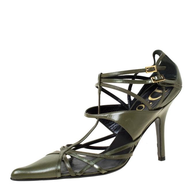 Item - Green Leather Strappy Pointed Size 36.5 Pumps