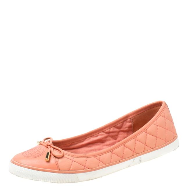 Item - Peach Quilted Leather Bow Detail Ballet Size 39.5 Flats
