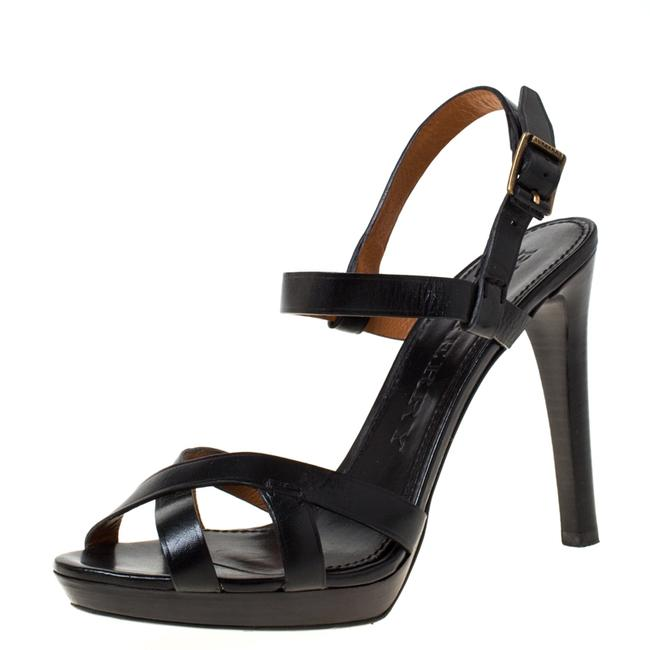 Item - Black Leather Bridle Ankle Strap Size 41 Sandals