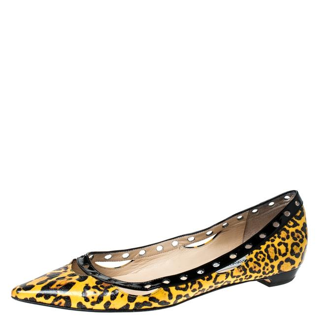 Item - Yellow Leopard Print Leather Pointed Size 37.5 Flats