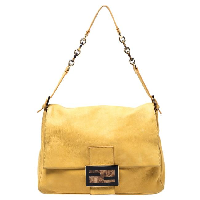 Item - Yellow Iridescent Leather Mama Forever Large Flap Shoulder Bag
