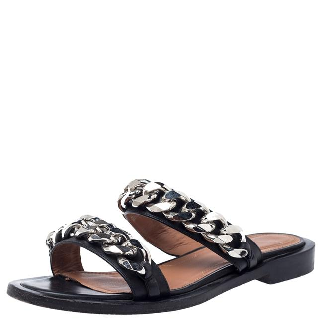 Item - Black Leather Chain Trimmed Flat Size 38 Sandals