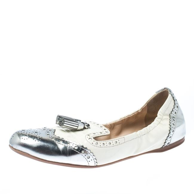 Item - Metallic Silver and White Brogue Patent Leather Tessel Scrunch Ballet Size 39 Flats