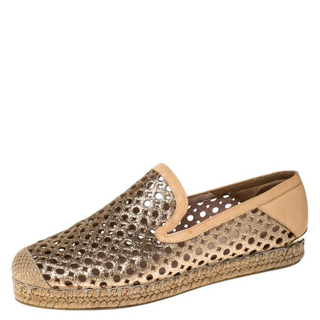 Item - Peach Perforated Glitter Leather Country Espadrille Size 37 Flats