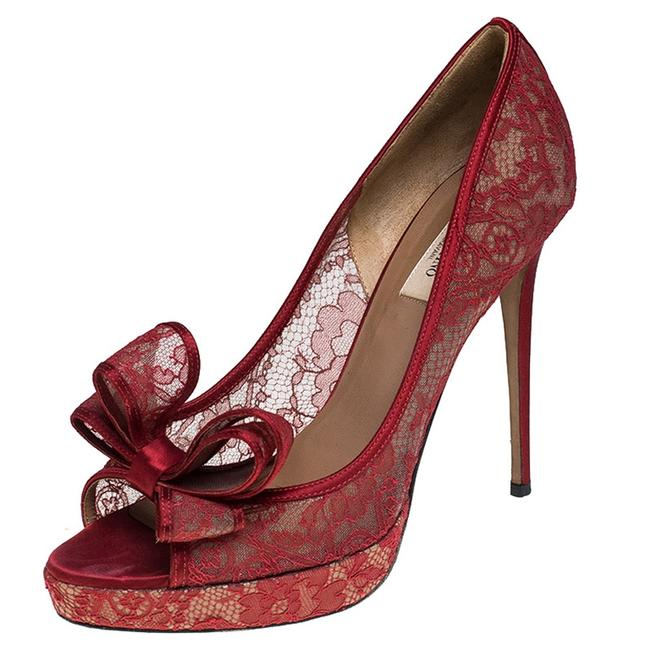 Valentino Red Lace Bow Peep Toe Platform Size 41 Pumps Valentino Red Lace Bow Peep Toe Platform Size 41 Pumps Image 1