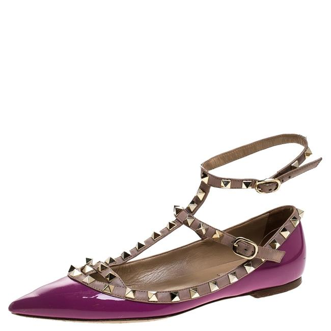 Item - Purple Patent Leather and Leather Rockstud Double Ankle Strap Cage Ballerina Size 38 Flats