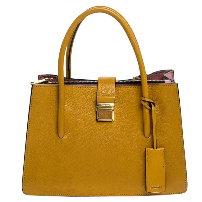 Item - Mustard Leather Medium Madras Tote