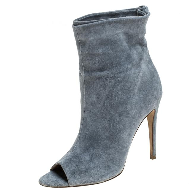 Item - Grey Suede Leather Peep Toe Ankle Size 37 Boots/Booties
