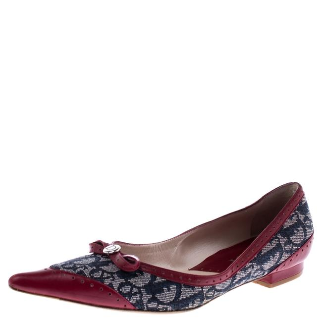Item - Grey/Burgundy Canvas and Leather Pointed Toe Ballet Size 39 Flats