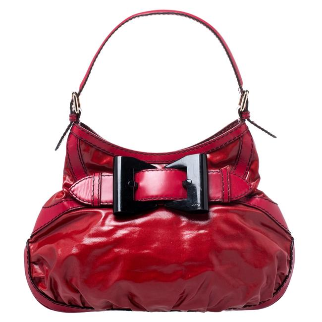 Item - Red Coated Canvas and Leather Medium Queen Hobo Bag