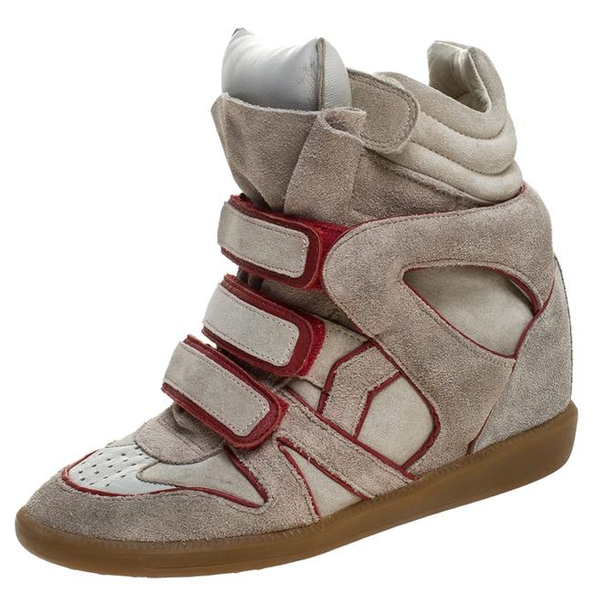 Item - Grey Suede with Metalllic Red Leather Trim Bekett Wedge Sneakers Size 38 Athletic