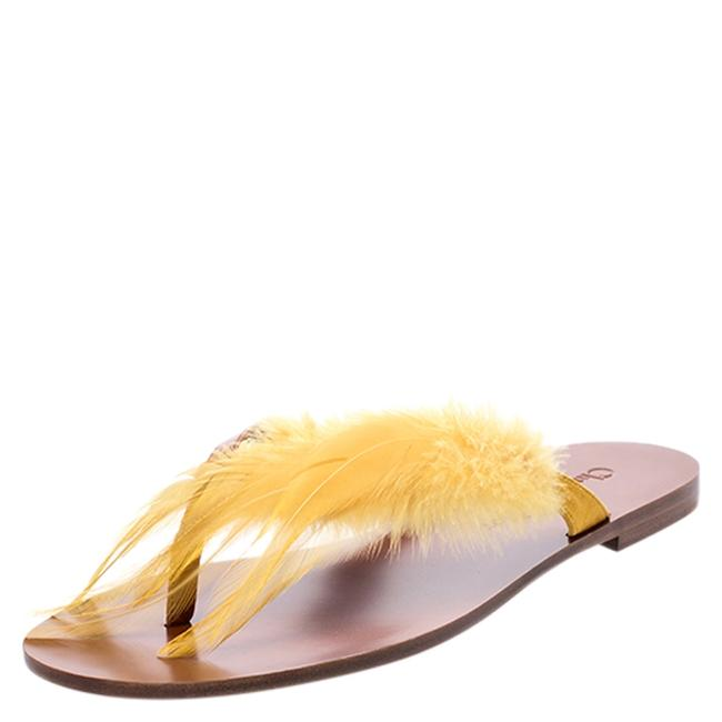 Item - Christian Brown Leather and Yellow Ethnie Feather Size 38 Flats