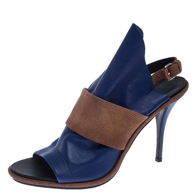 Item - Blue/Brown Leather Open Toe Glove Slingback Size 40 Sandals