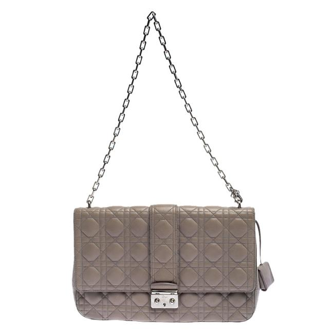 Item - Flap Grey Cannage Leather Large Miss Shoulder Bag