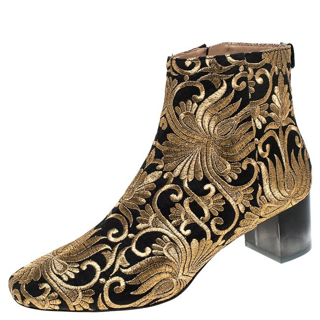 Item - Embroidered Black/Gold Carlotta Size 40 Boots/Booties