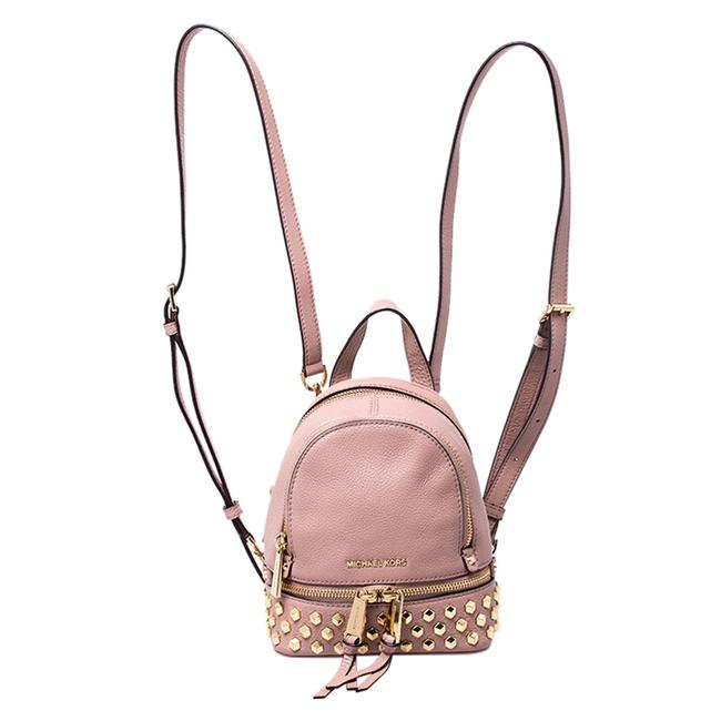 Item - Beige Leather Mini Studded Rhea Backpack