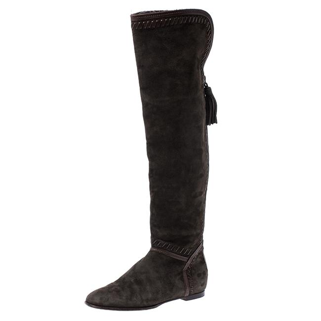 Jimmy Choo Green Suede Whip Stitch Detail Over The Knee Size 38 Boots/Booties Jimmy Choo Green Suede Whip Stitch Detail Over The Knee Size 38 Boots/Booties Image 1