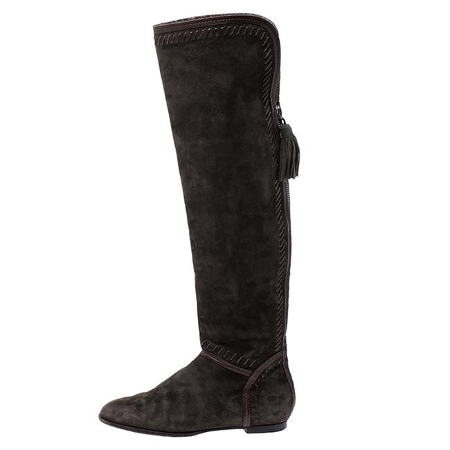 Jimmy Choo Green Suede Whip Stitch Detail Over The Knee Size 38 Boots/Booties Jimmy Choo Green Suede Whip Stitch Detail Over The Knee Size 38 Boots/Booties Image 2