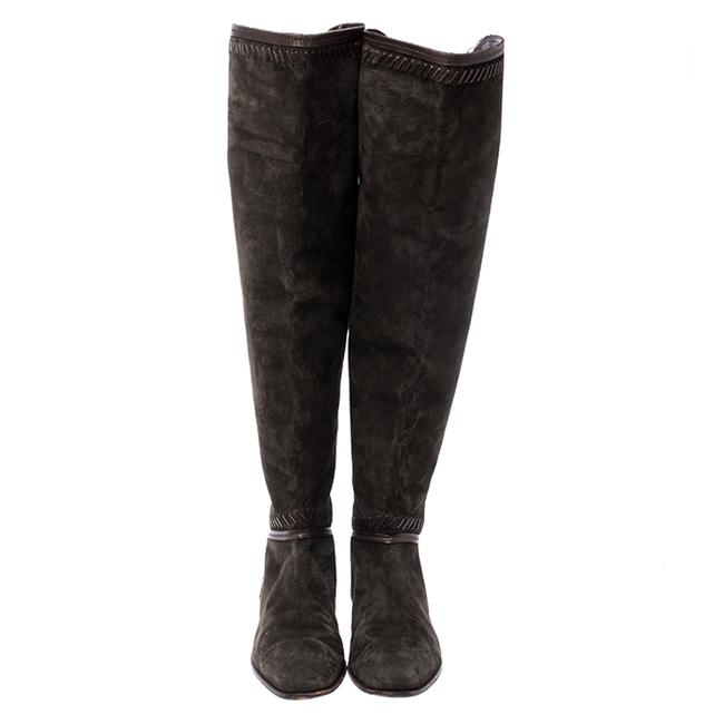 Jimmy Choo Green Suede Whip Stitch Detail Over The Knee Size 38 Boots/Booties Jimmy Choo Green Suede Whip Stitch Detail Over The Knee Size 38 Boots/Booties Image 3