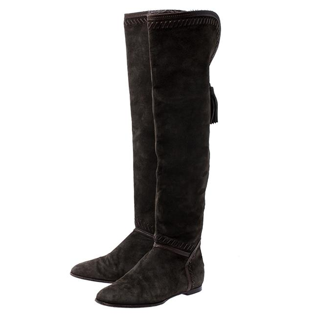 Jimmy Choo Green Suede Whip Stitch Detail Over The Knee Size 38 Boots/Booties Jimmy Choo Green Suede Whip Stitch Detail Over The Knee Size 38 Boots/Booties Image 4