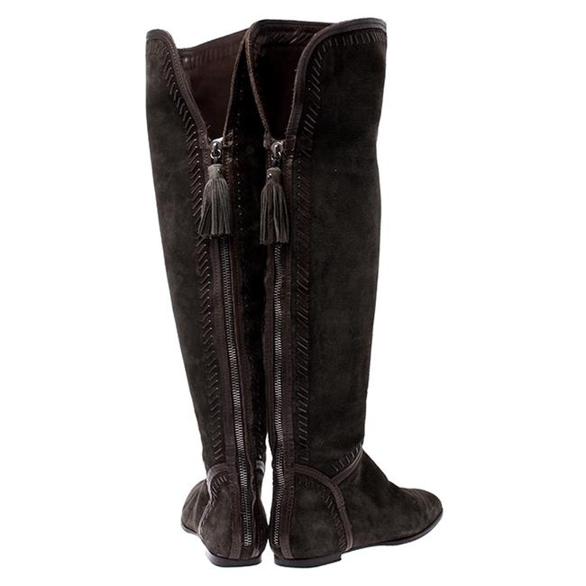 Jimmy Choo Green Suede Whip Stitch Detail Over The Knee Size 38 Boots/Booties Jimmy Choo Green Suede Whip Stitch Detail Over The Knee Size 38 Boots/Booties Image 5