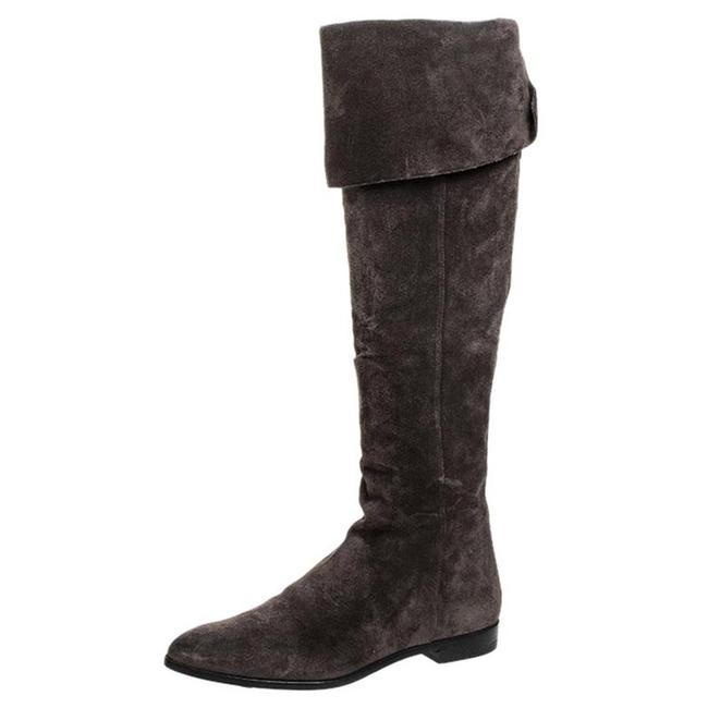 Item - Brown Suede Over The Knee Pointed Toe Flat Size 37 Boots/Booties