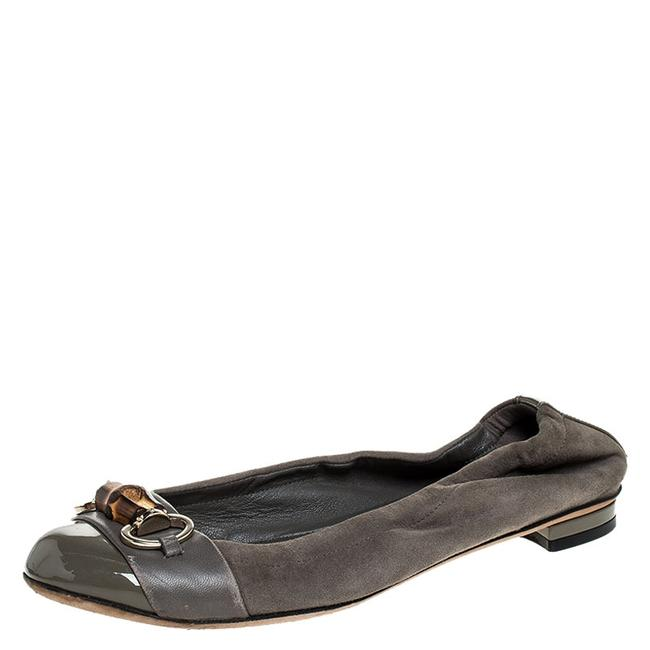 Item - Horsebit Grey Suede Patent and Leather Bamboo Ballet Size 36.5 Flats