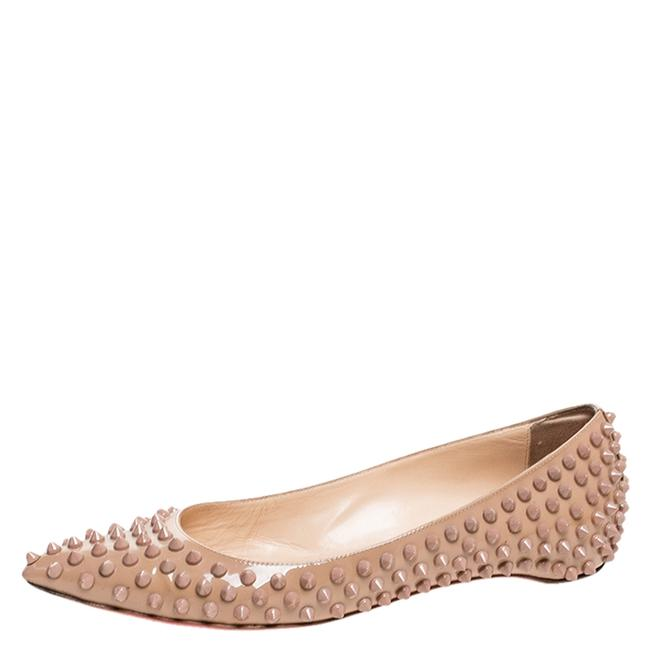 Item - Beige Patent Leather Spike Pointed Toe Ballet Size 38 Flats