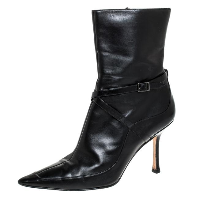 Item - Black Leather Arena Pointed Toe Ankle Size 40 Boots/Booties