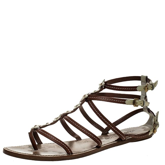 Item - Brown/White Leather Fleurus Flower Detail Strappy Sandals Size 40.5 Flats