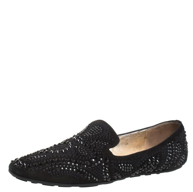Item - Black Suede Crystal Embellished Wheel Smoking Slippers Size 38 Flats