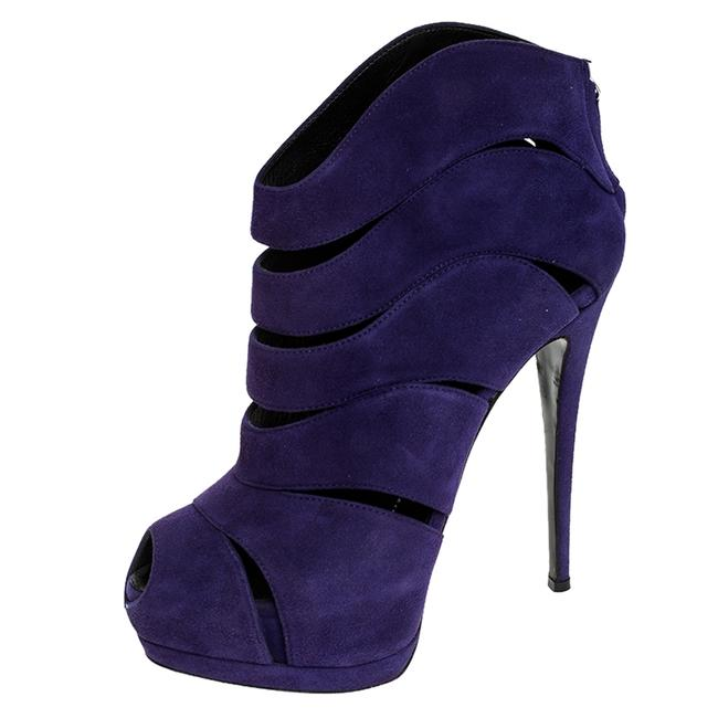Item - Purple Cut Out Suede Coline Peep Size 38 Boots/Booties