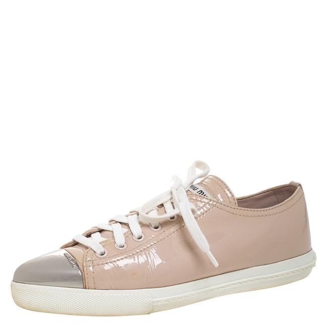 Item - Beige Patent Leather Metal Cap Toe Lace Up Sneakers Size 36.5 Athletic