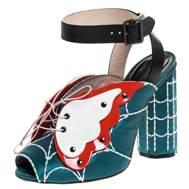 Item - Multicolor Satin and Leather Butterfly Web Ankle Strap Size 37 Sandals