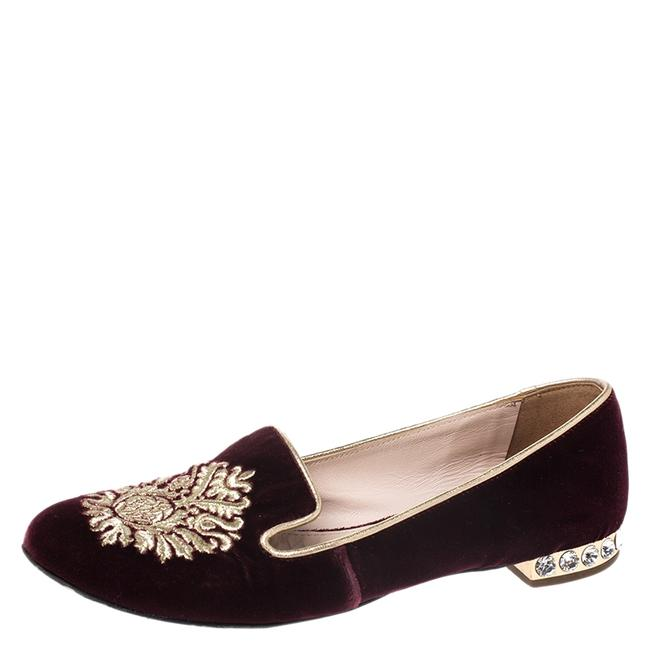 Item - Burgundy Crest Embroidered Velvet Smoking Slippers Size 35.5 Flats
