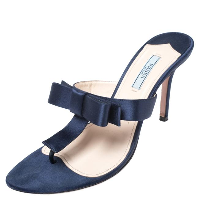 Item - Blue Satin Fuoco Bow Size 39 Sandals