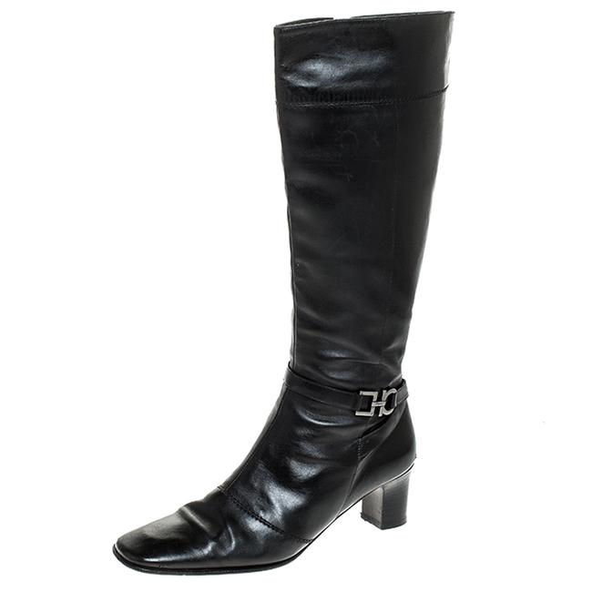 Item - Black Leather Gancini Detail Mid Calf Size 36 Boots/Booties