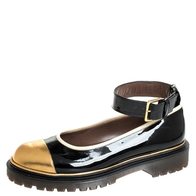 Item - Black and Gold Patent Leather Ankle Strap Ballet Size 39 Flats