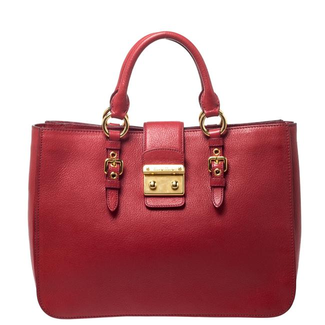 Item - Red Leather Large Madras Tote