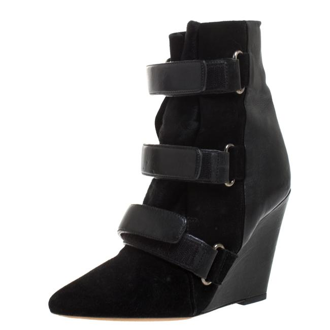 Item - Black Suede and Leather Scarlet Wedge Size 37 Boots/Booties