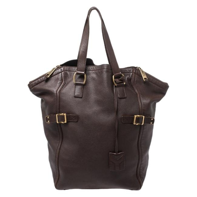 Item - Downtown Yves Dark Brown Leather Large Tote