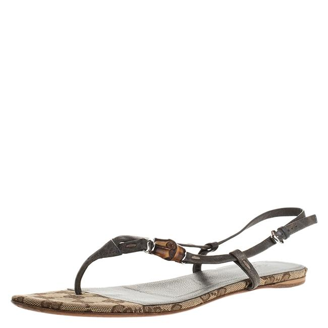 Item - Grey Leather Bamboo Icon Thong Flat Size 38 Sandals