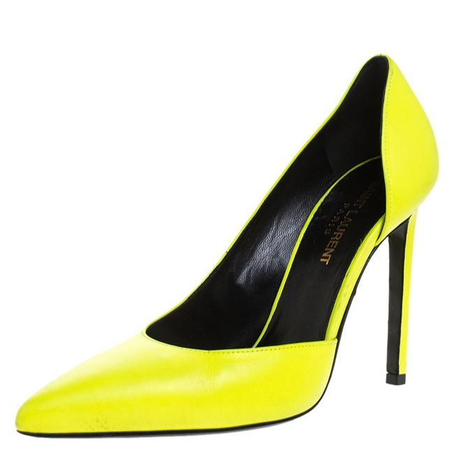 Item - Paris Neon Green Leather D'orsay Pointed Size 37 Pumps