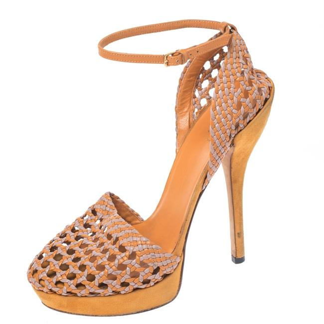 Item - Two Tone Woven Leather Kyligh Ankle Strap Platform Size 37 Sandals