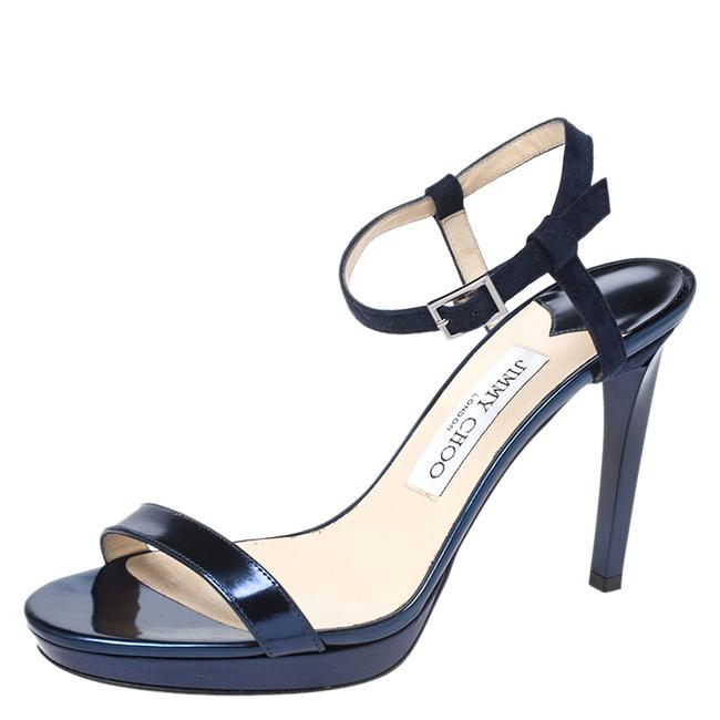 Item - Metallic Blue Leather Minny Ankle Strap Size 37 Sandals