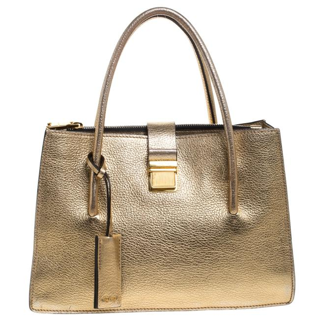 Item - Metallic Gold Leather Medium Madras with Wallet Tote